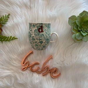 Anthro's D letter homegrown ceramic mug